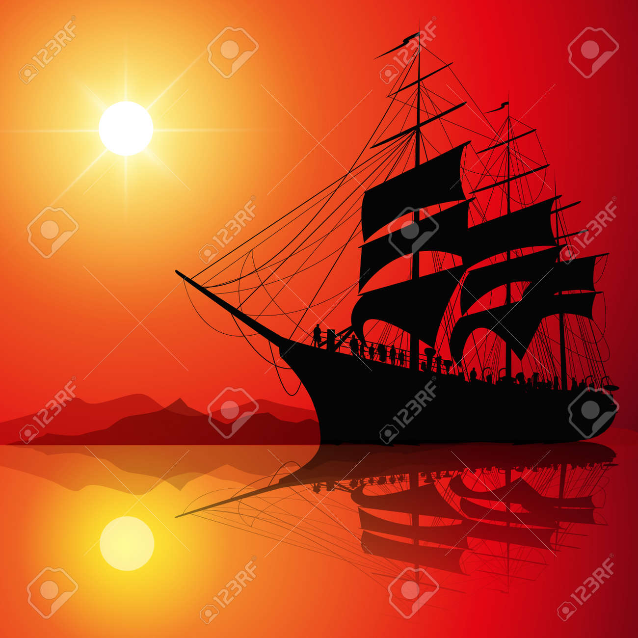 Segelschiffe auf dem meer sonnenuntergang  Segelschiff Auf Dem Meer Bei Sonnenuntergang Skyline. Vektor ...