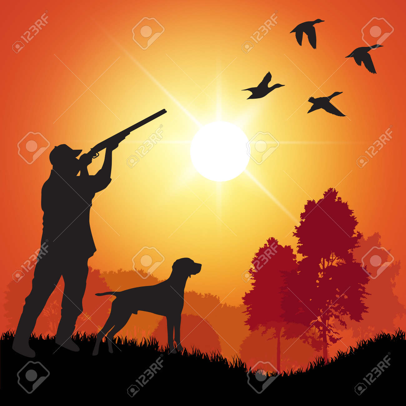 Silhouette of men on the duck hunting. Vector illustration - 39814795