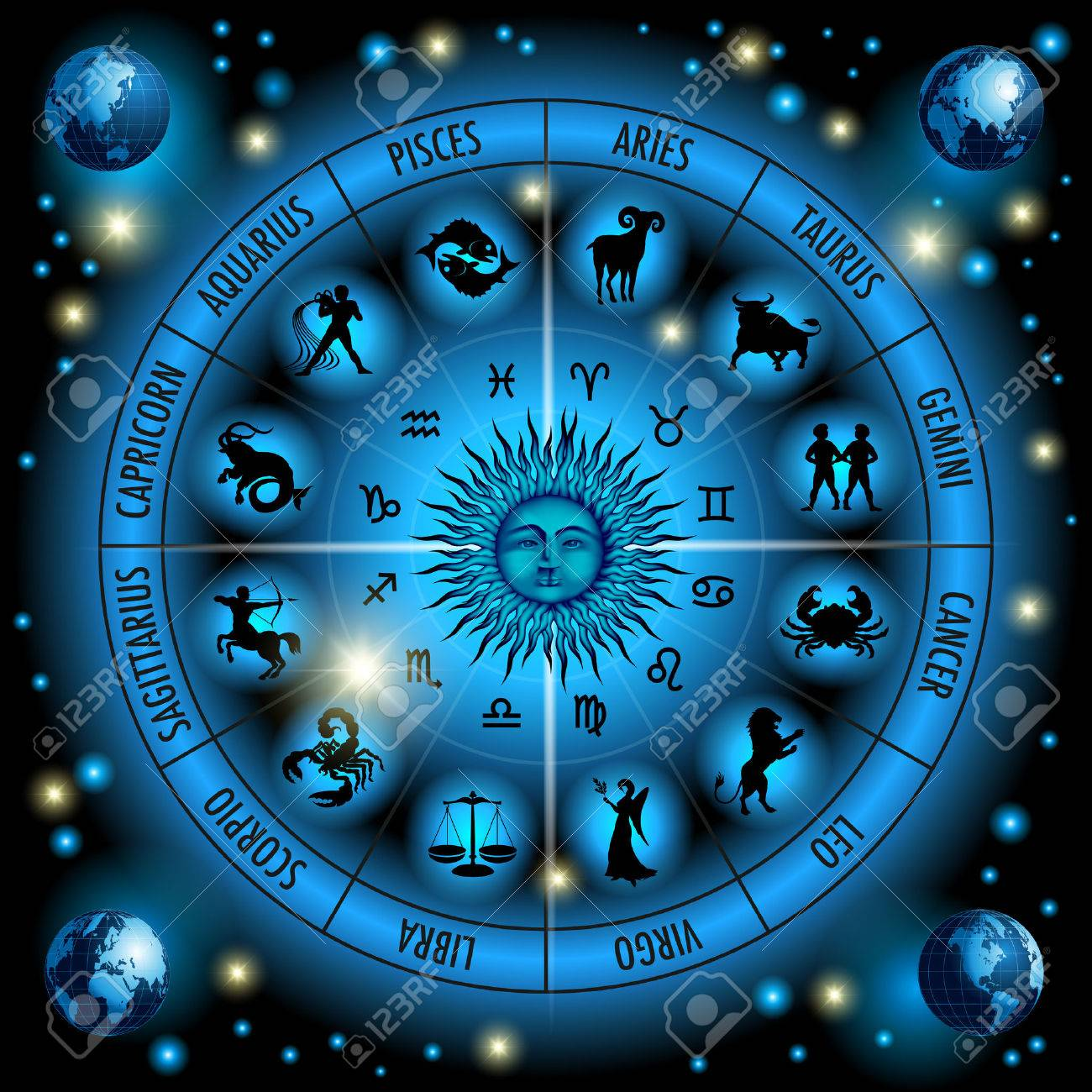 Circle of the zodiac signs. Vector Illustration - 39814796