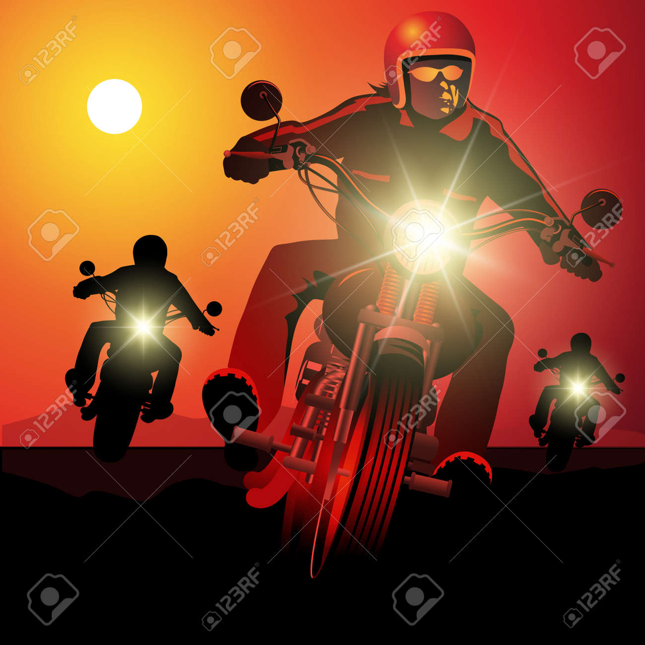 People driving motorcycles on sunset. - 40574531