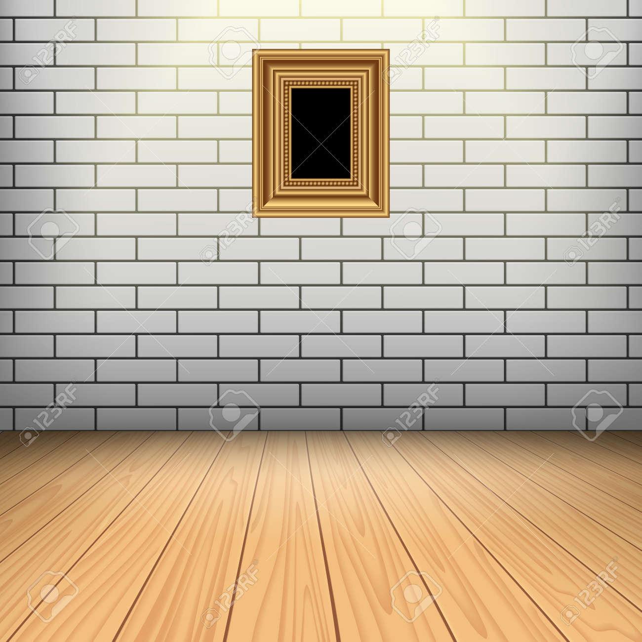 foto de archivo sitio interior con pared blanca de ladrillo piso de madera y el marco de oro para su imagen with madera para la pared