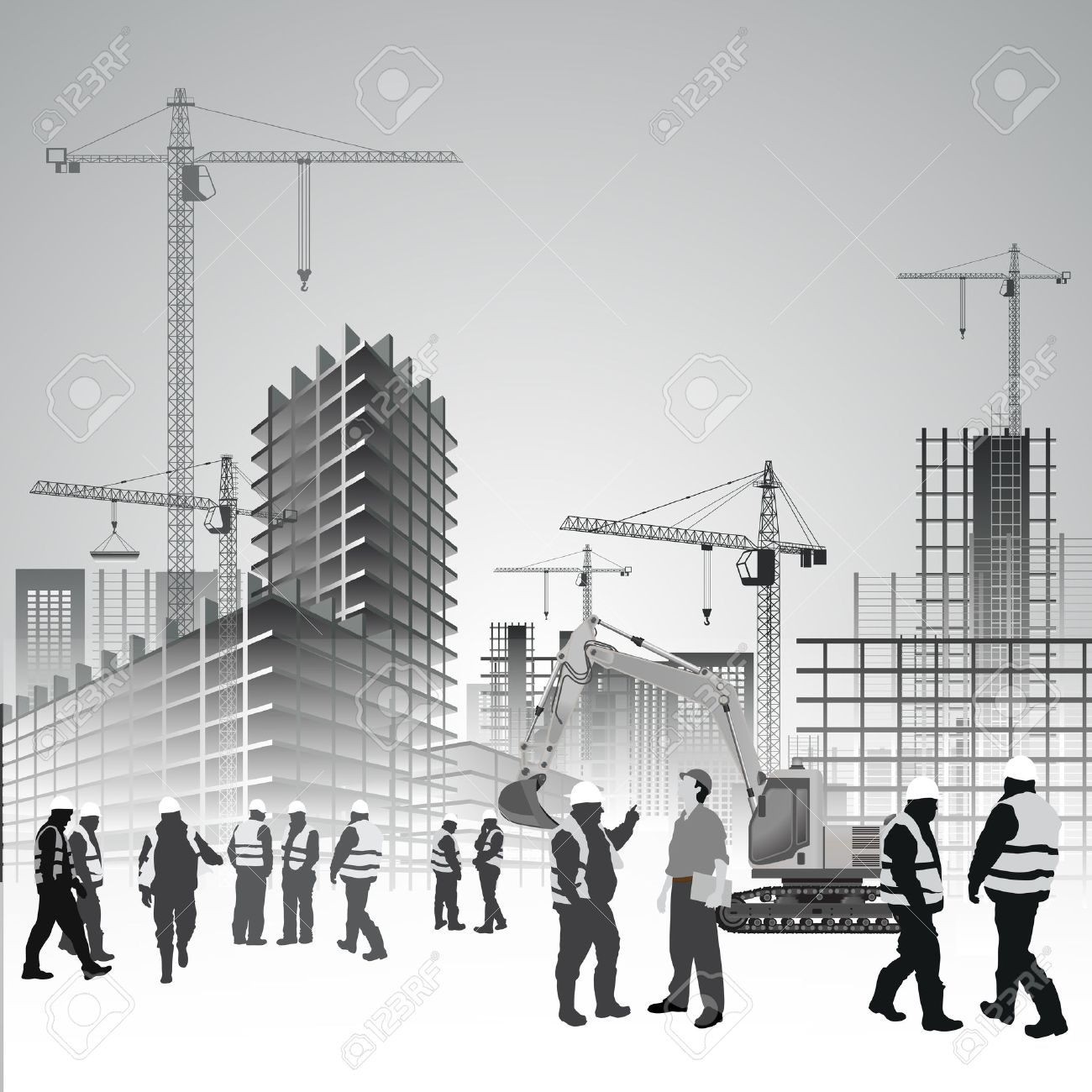 construction site with cranes excavator and workers vector
