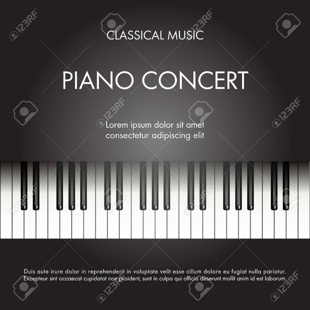 Classic Music Piano Background For Poster Web Leaflet Magazine Vector Illustration Stock