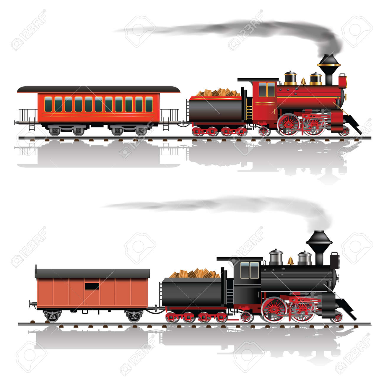Old american steam locomotive. Passenger and freight wagon. Vector illustration - 43066459