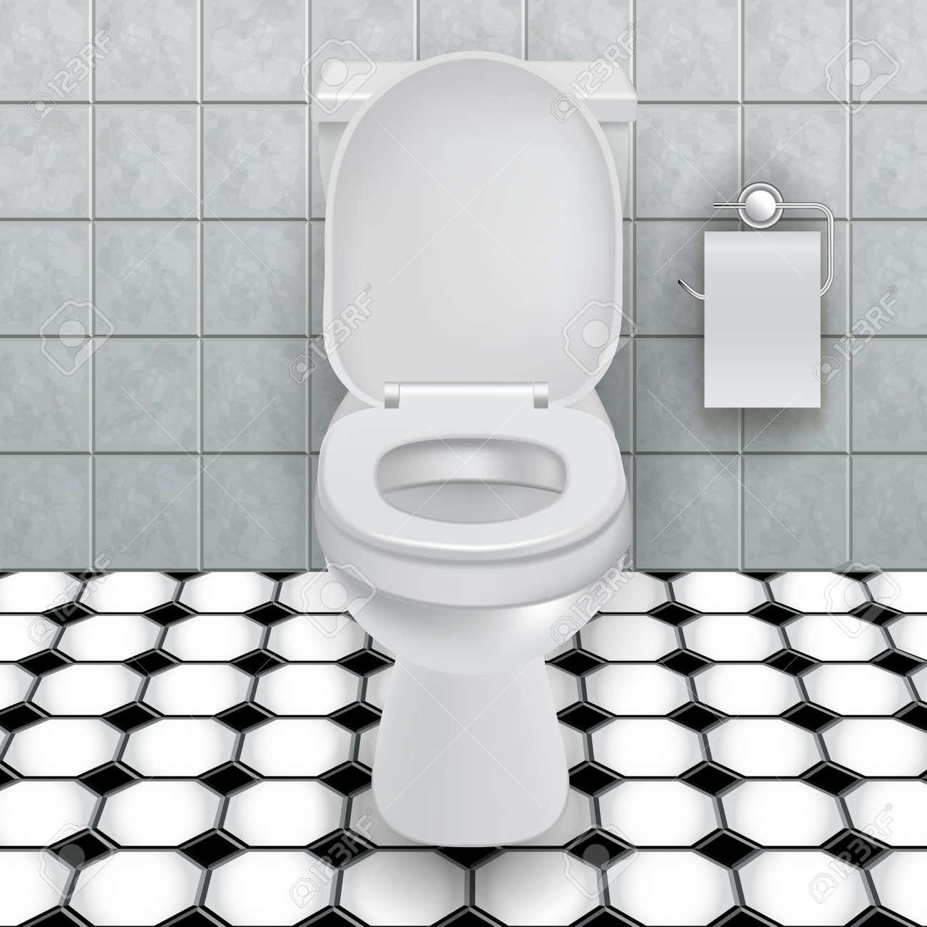 Taza del inodoro en un baño moderno. ilustración vectorial ...