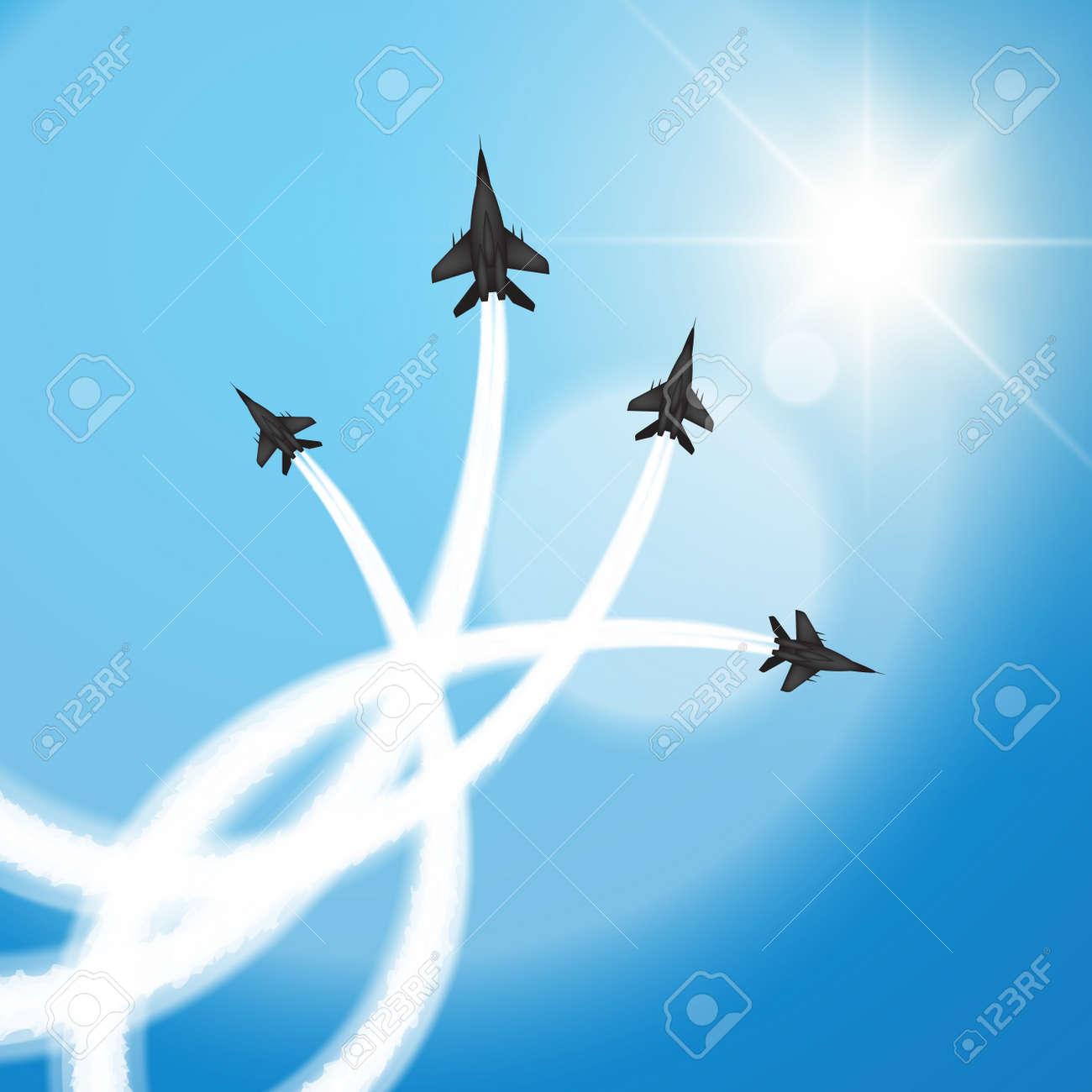 Military fighter jets perform aerial acrobatics. Vector illustration - 43870507