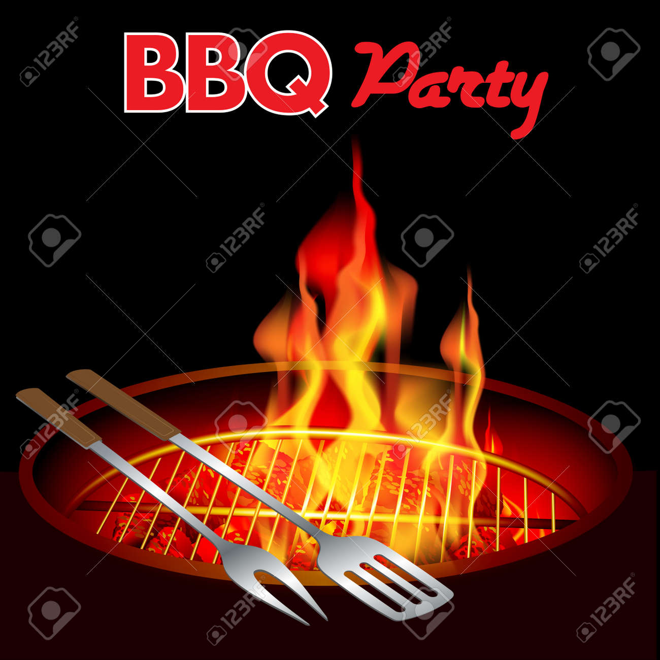 Fire in a barbecue with an empty grill. Vector illustration - 43870516