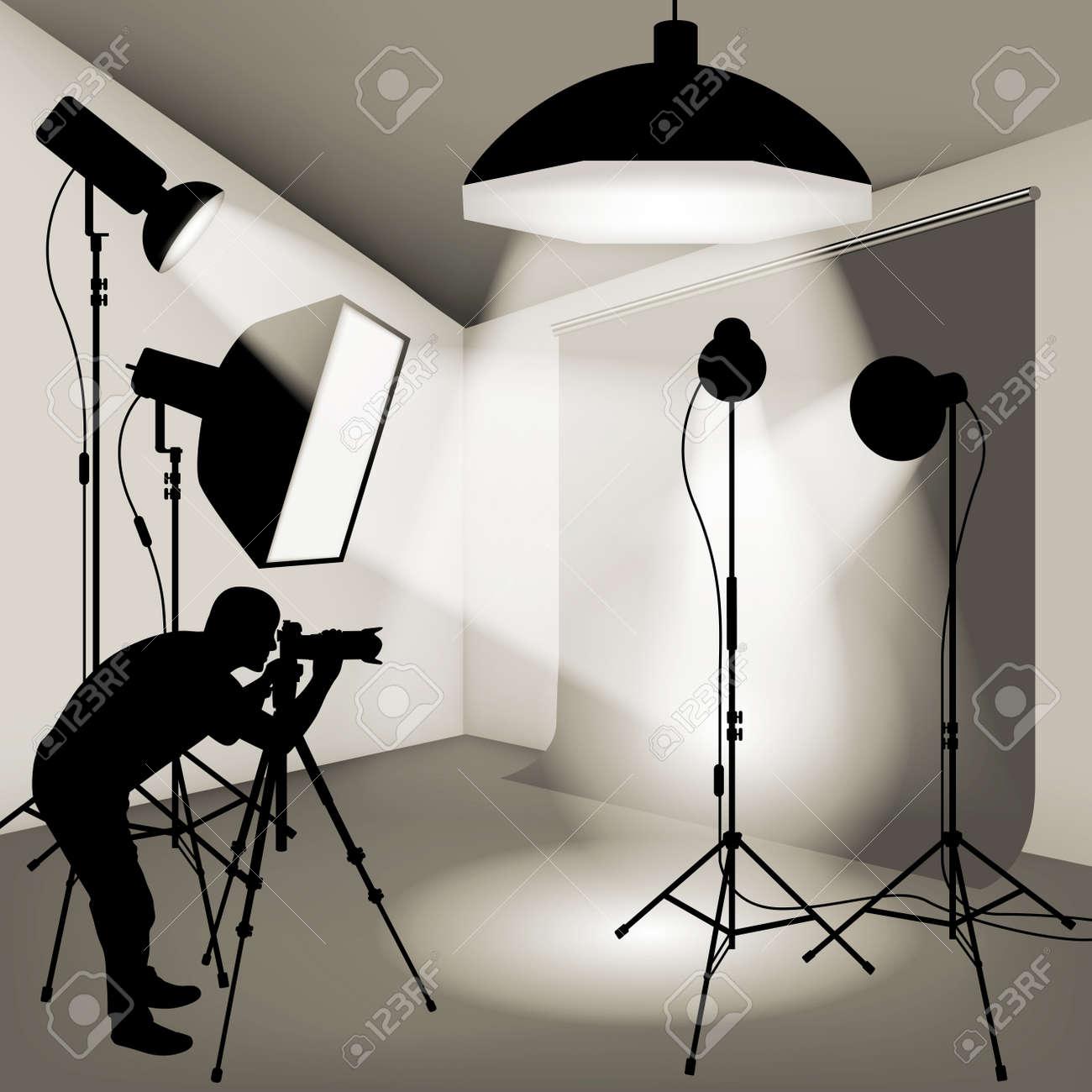 Man using professional camera in the photo studio. Vector illustration - 46081421
