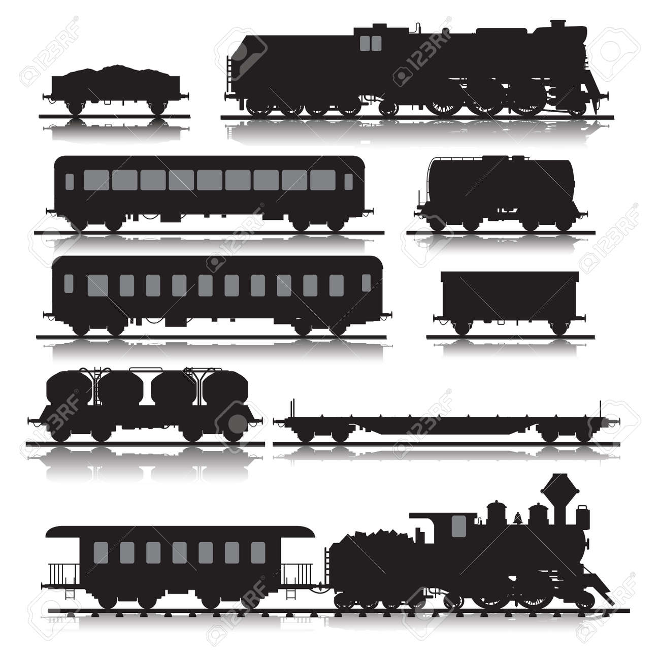 Vector illustration of railway trains consisting of locomotives, platforms for transportation of containers, covered wagons, cisterns, and rail cars - 46081426