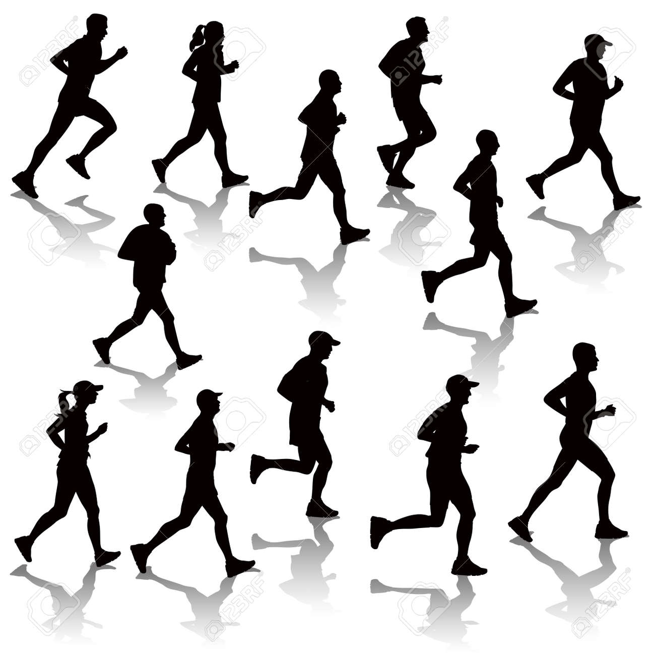 Collection of running people isolated on white. Vector illustration - 46081432