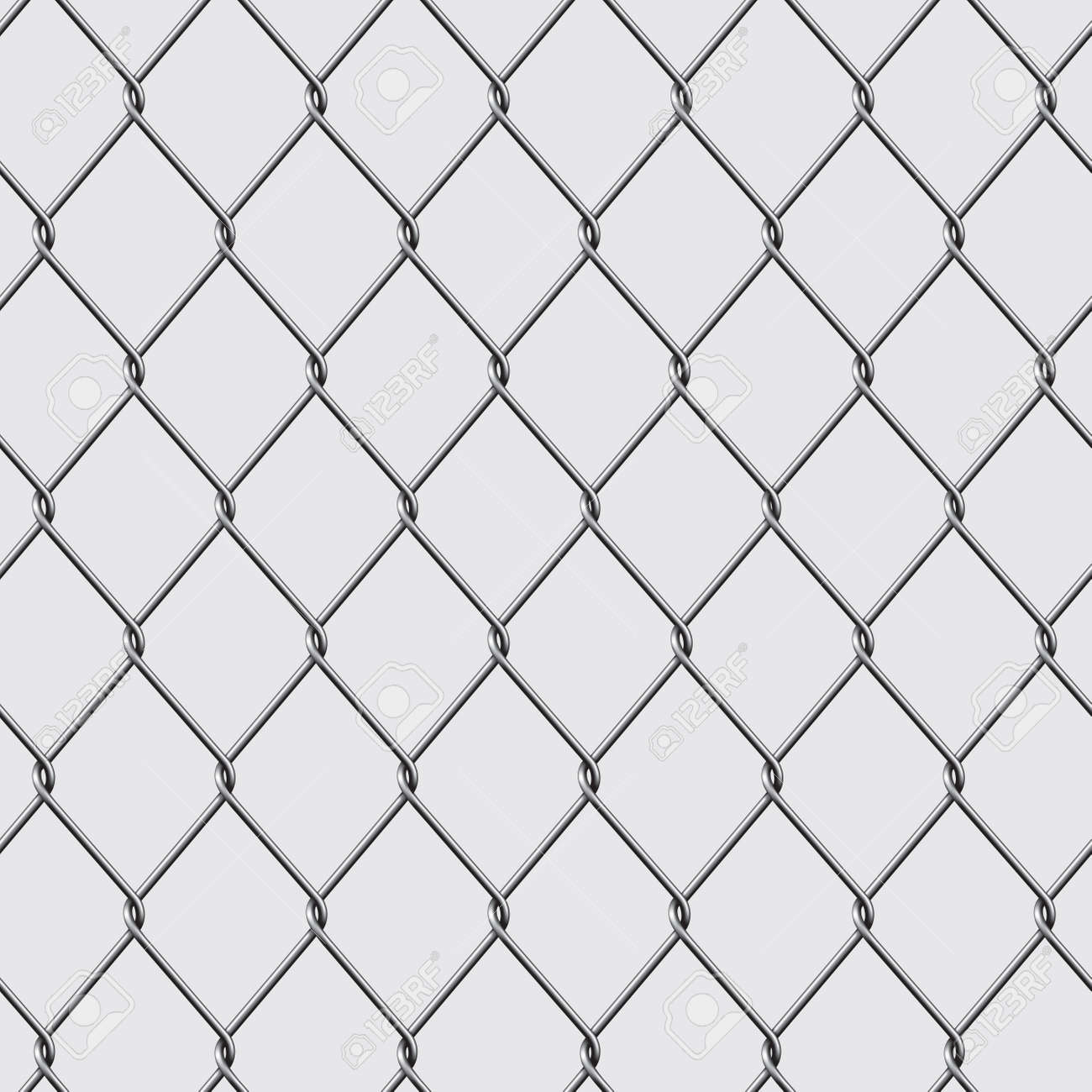 Metal chain link fence seamless isolated on background. Vector illustration - 46081431