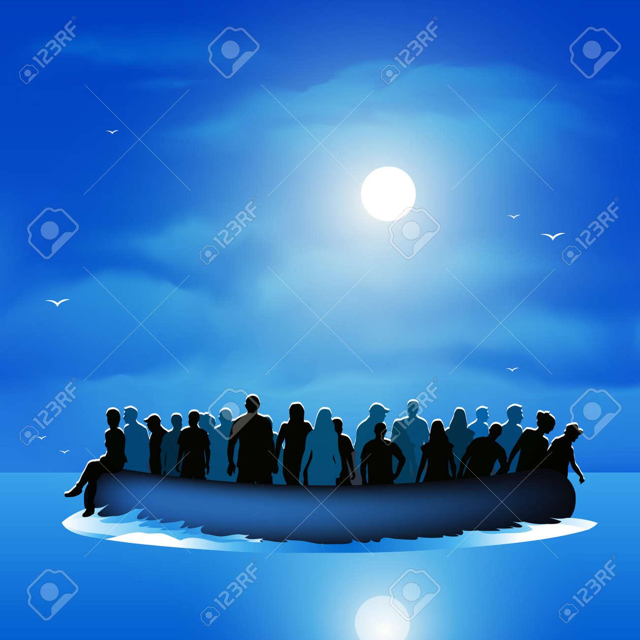 Dangerous journey refugees risking lives to find new life. Vector illustration - 46081434