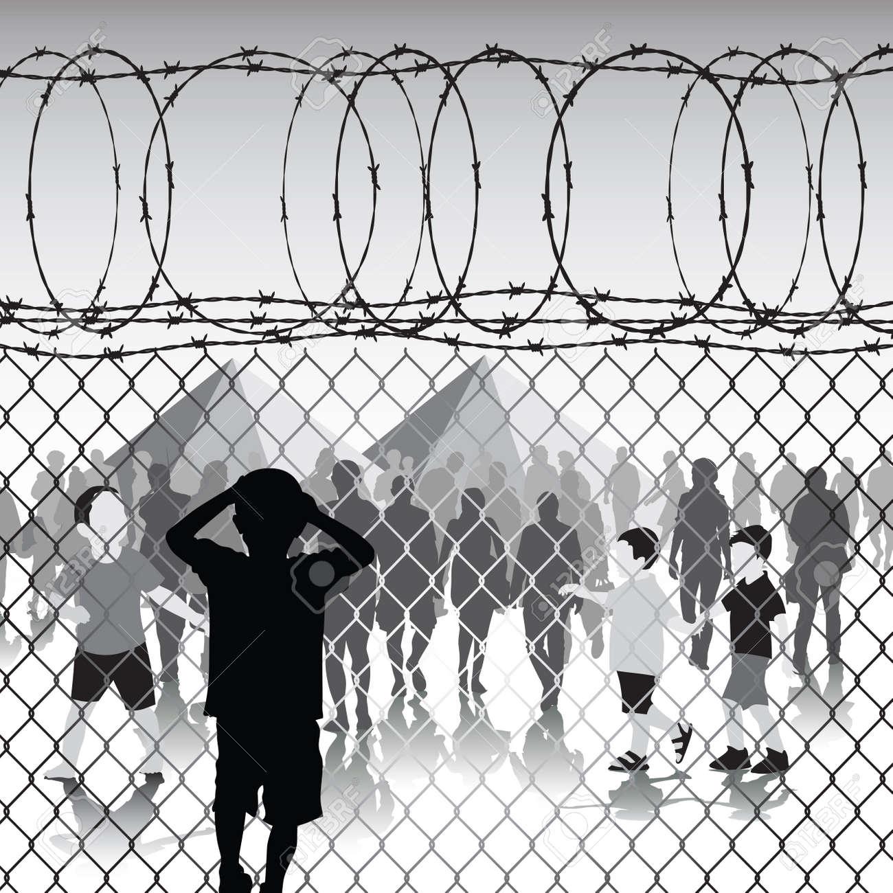 Kinder Hinter Maschendrahtzaun Und Stacheldraht In Flüchtlingslager ...