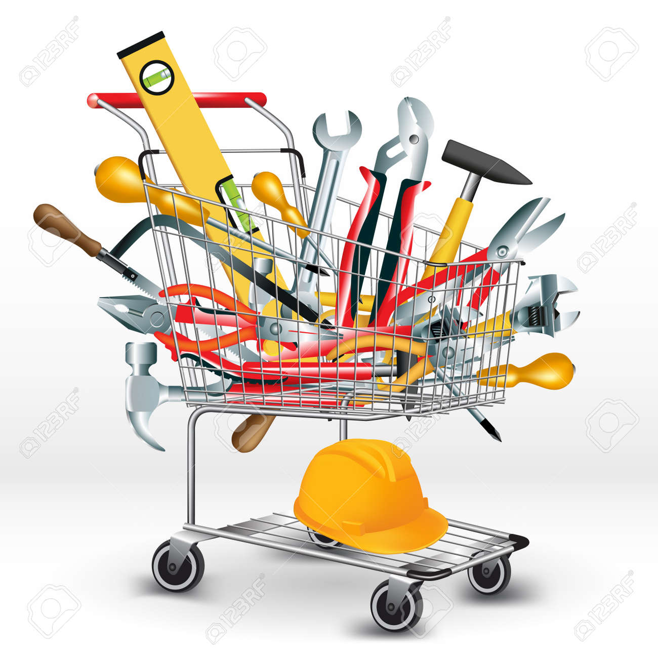 Hand tools inside a shopping cart. Vector illustration - 46534212