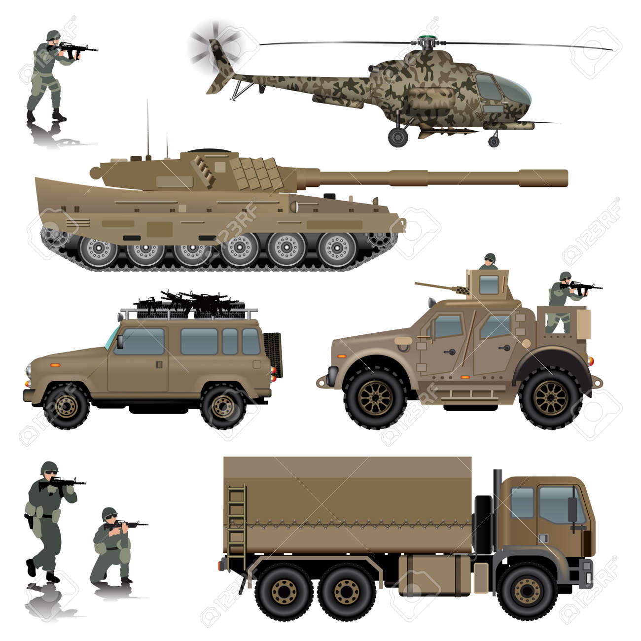 Set of military vehicles. Tank, helicopter, land vehicles and soldiers. Vector illustration - 46534796