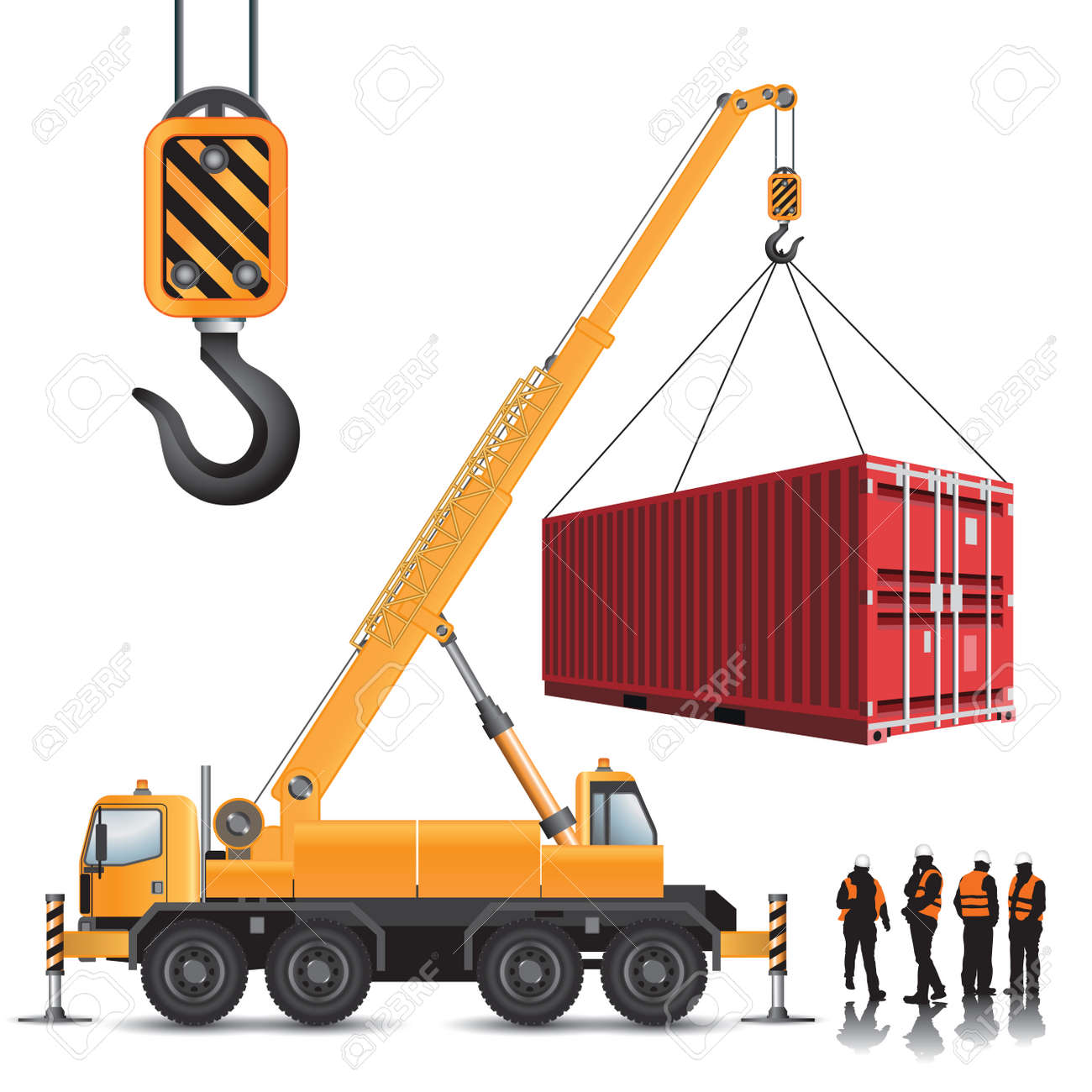 Mobile crane with container isolated on white. Vector illustration - 48482641