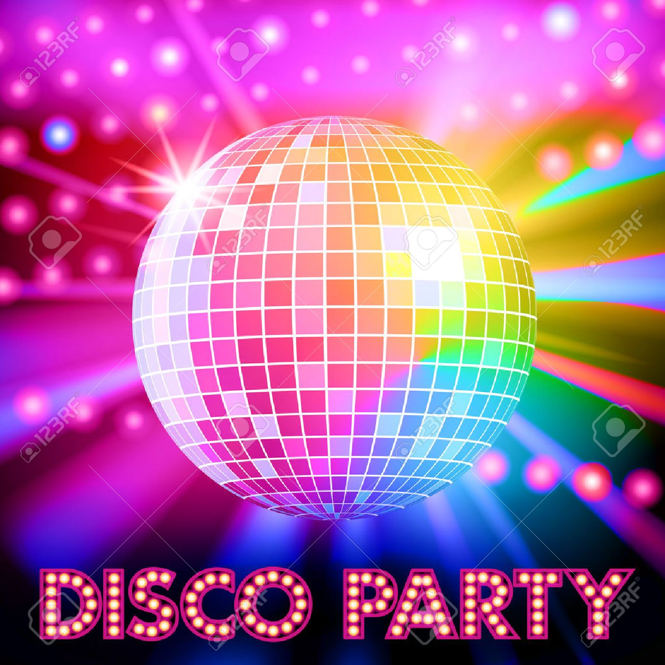 Disco Lights And Shiny Ball Vector Illustration Stock