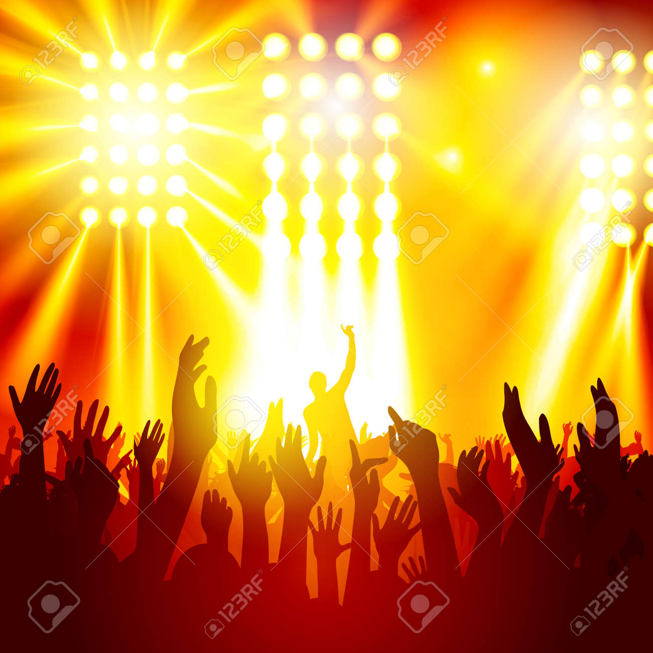 Rock concert, silhouettes of happy people raising up hands. Vector illustration - 48353570