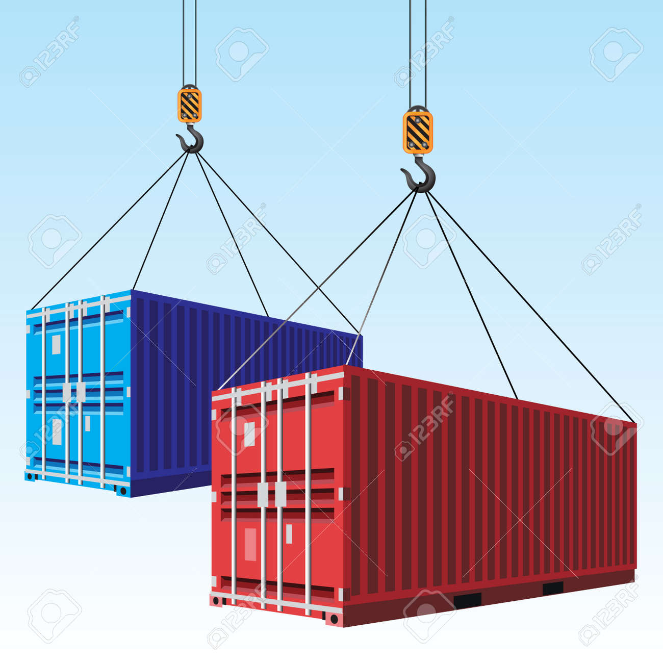 Cargo containers hoisted with hooks. Vector illustration - 50268859