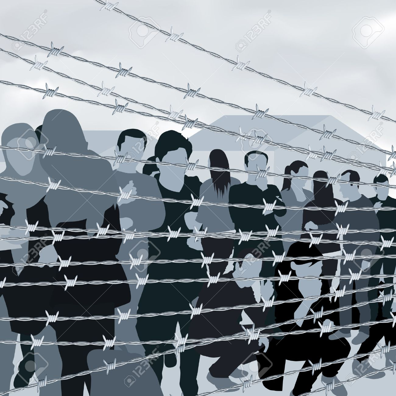 Refugees people behind barbed wire. Vector illustration - 50268864