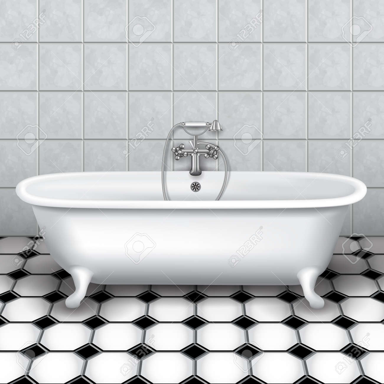 Retro Bathtub In A Tiled Bathroom. Vector Illustration Royalty Free ...