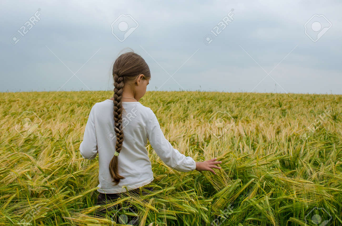 579008ae8b70 girl walking in rye field on warm and cloudy summer day Stock Photo -  90869492