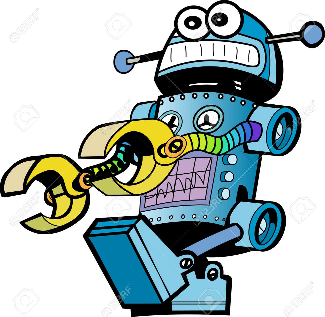 crazy robot Stock Vector - 12403777
