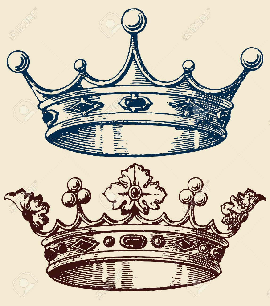 old crown set Stock Vector - 14419366