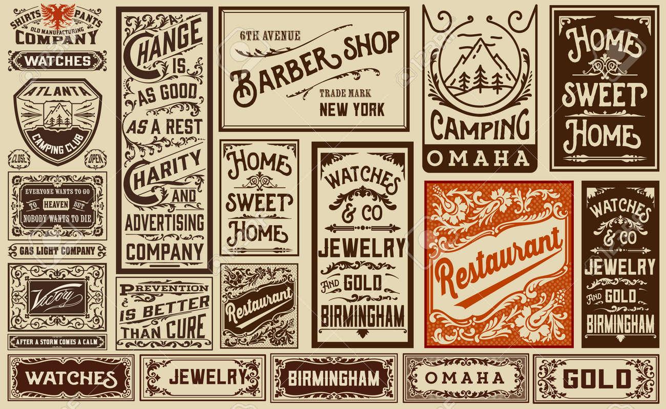 mega pack old advertisement designs and labels - Vintage illustration Stock Vector - 42064094