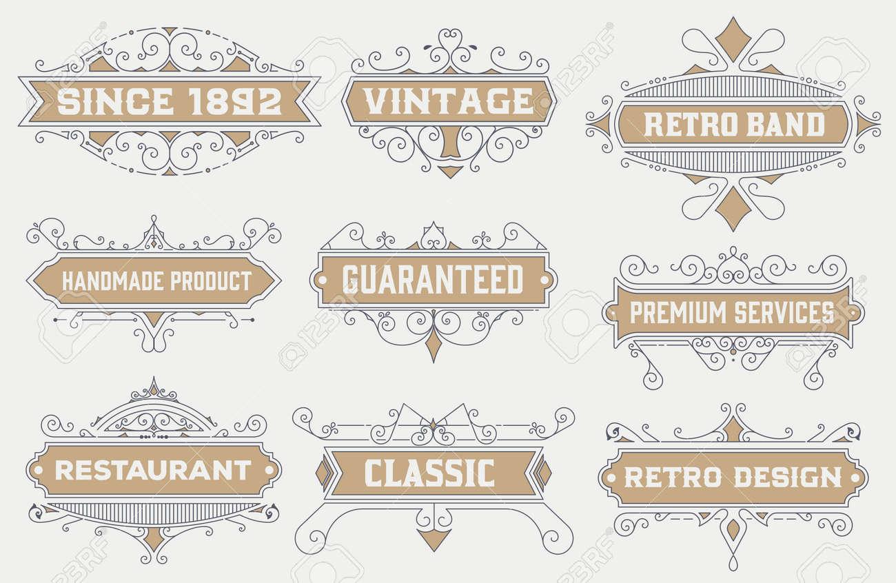 vintage logo template, Hotel, Restaurant, Business Identity set. Design with Flourishes Elegant Design Elements. Royalty. Vector Illustration Stock Vector - 43118237
