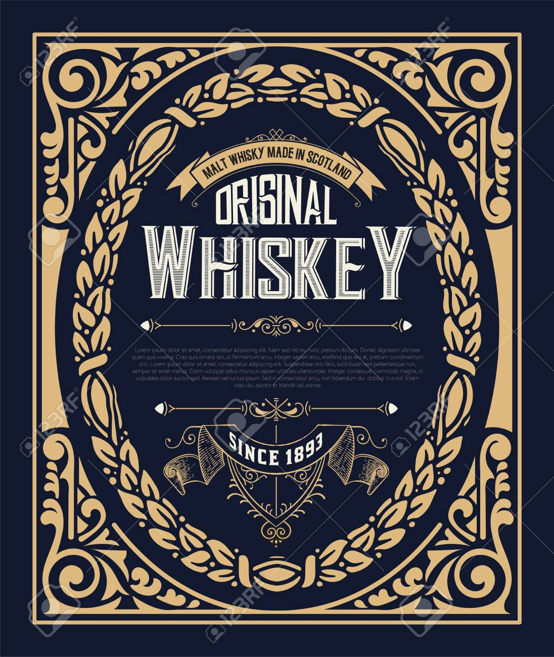 old vintage whiskey label design royalty free cliparts vectors and