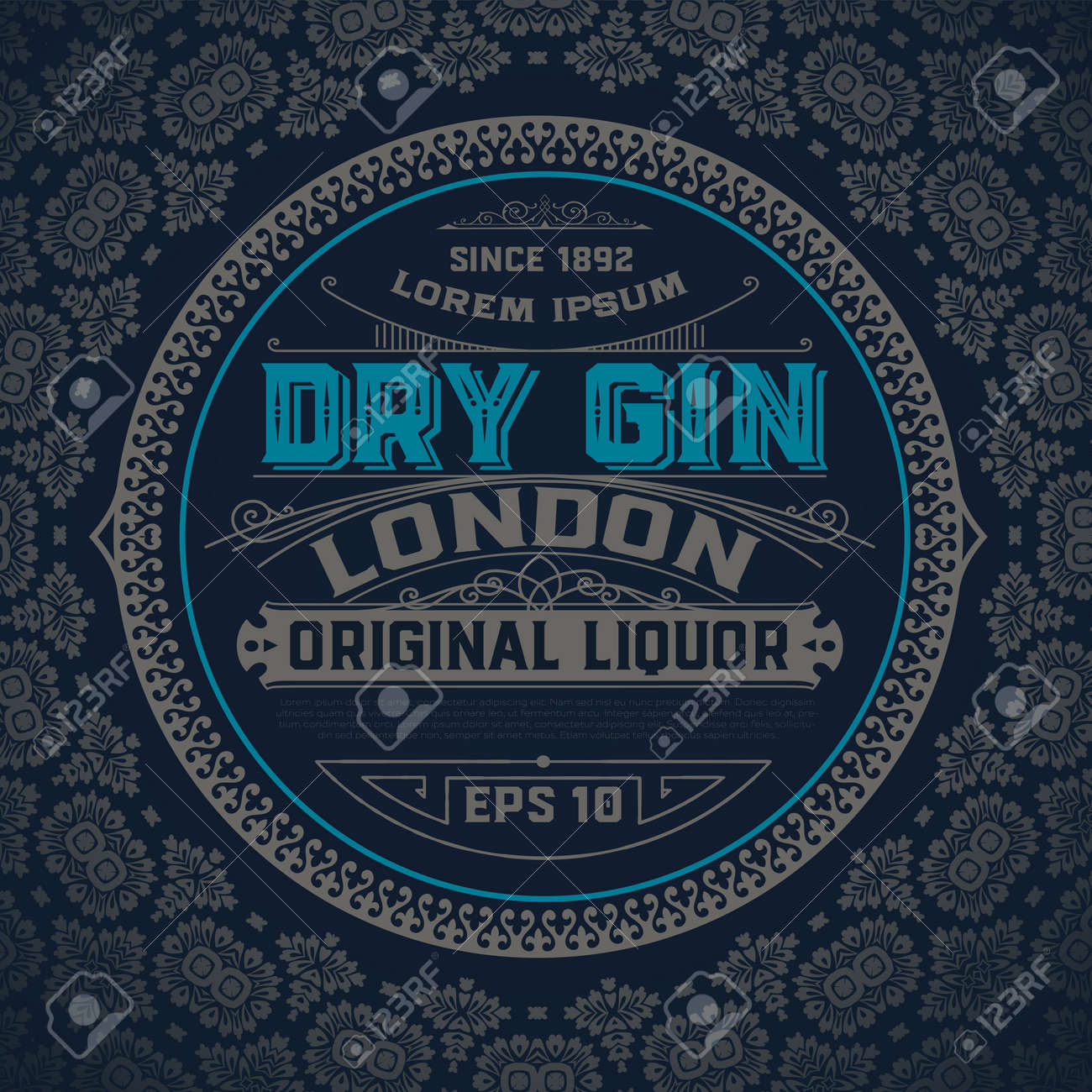 Gin label with floral ornaments - 82285596