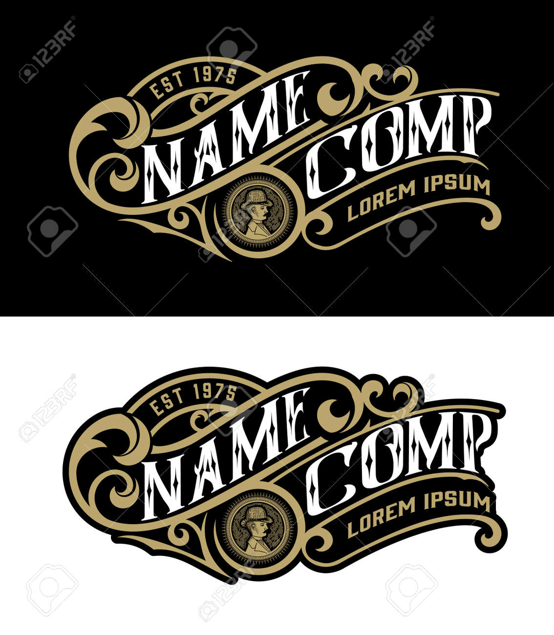 Vintage logo template. Vector layered - 125149049