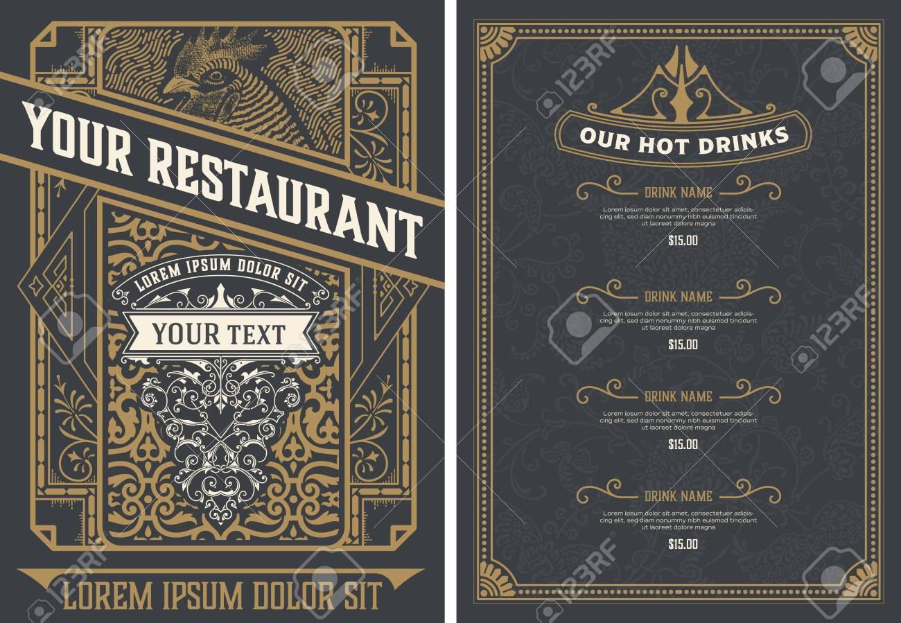 Vintage restaurant menu design template. Vector layered. - 128248807