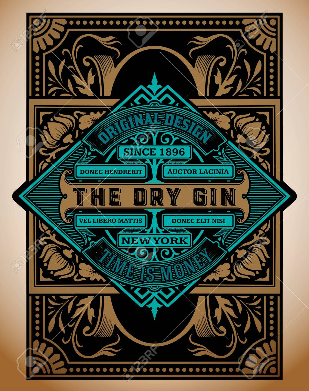 Vintage Gin label template. Vector layered - 130911572