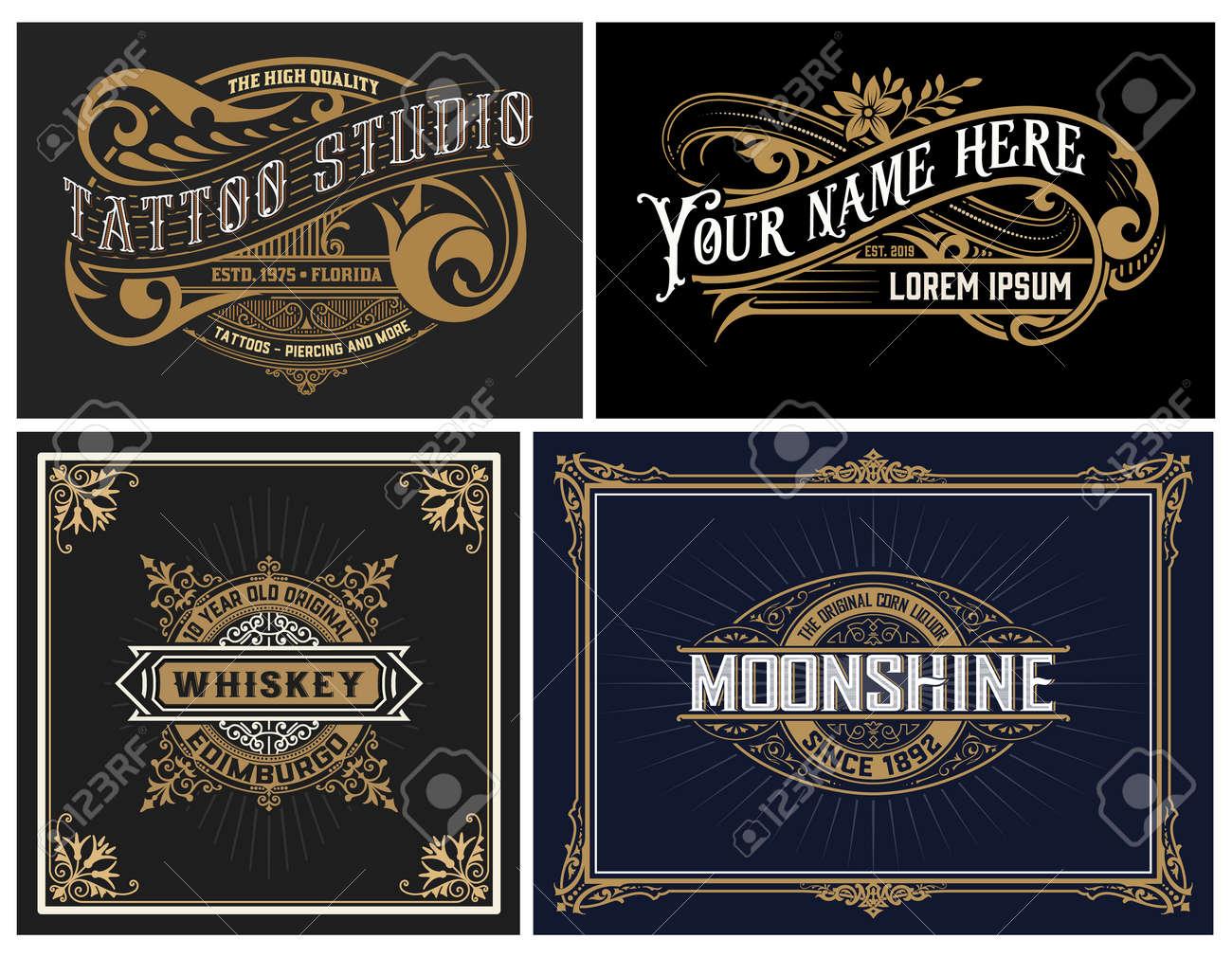 Set of 4 vintage Logos. Vector layered - 145582842