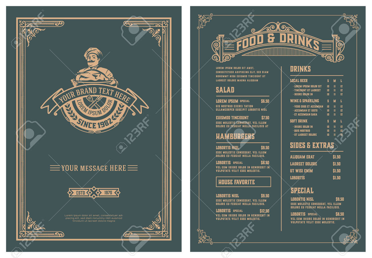 Vintage template for restaurant menu design. Vector layered. - 147015671