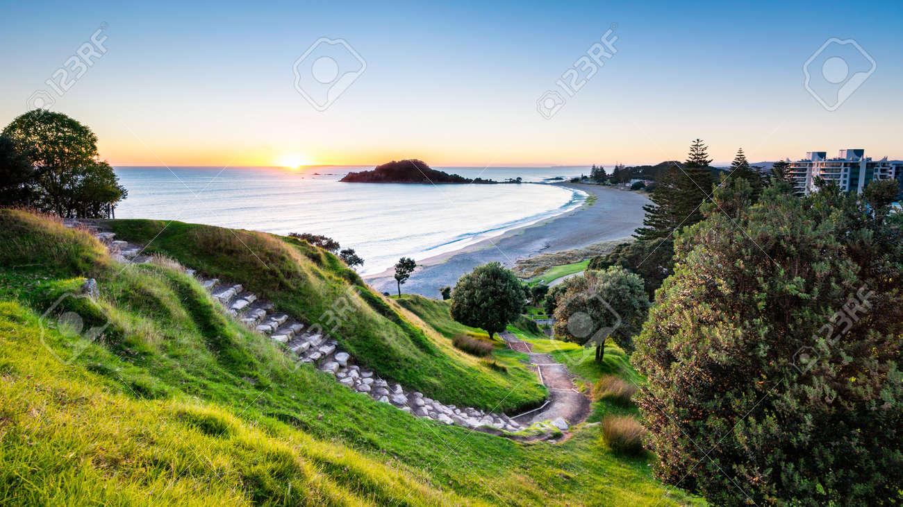 Sunrise at summit track on Mount Maunganui, New Zealand - 126556826
