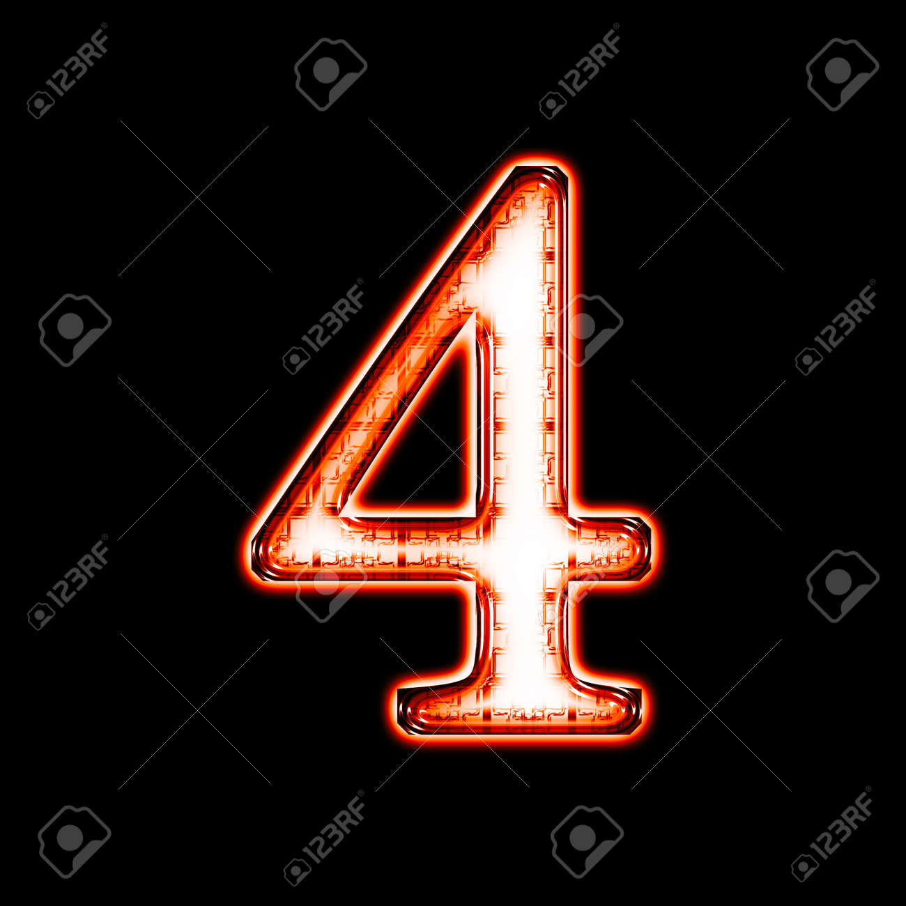 Glowing neon number on black background for web or desktop Stock Photo - 8686439
