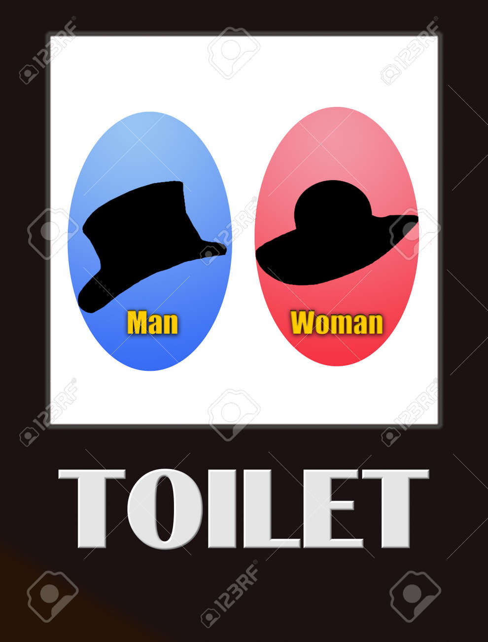 funny male and female bathroom sign black on white Stock Photo - 7675032