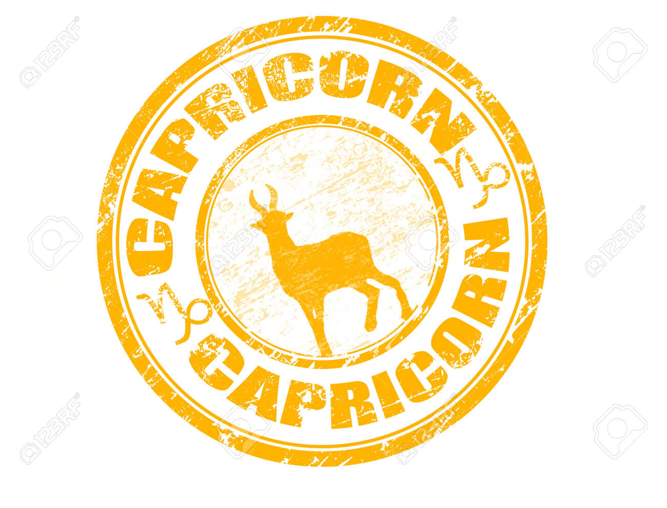 Yellow Grunge Rubber Stamp With Capricorn Shape And The Capricorn