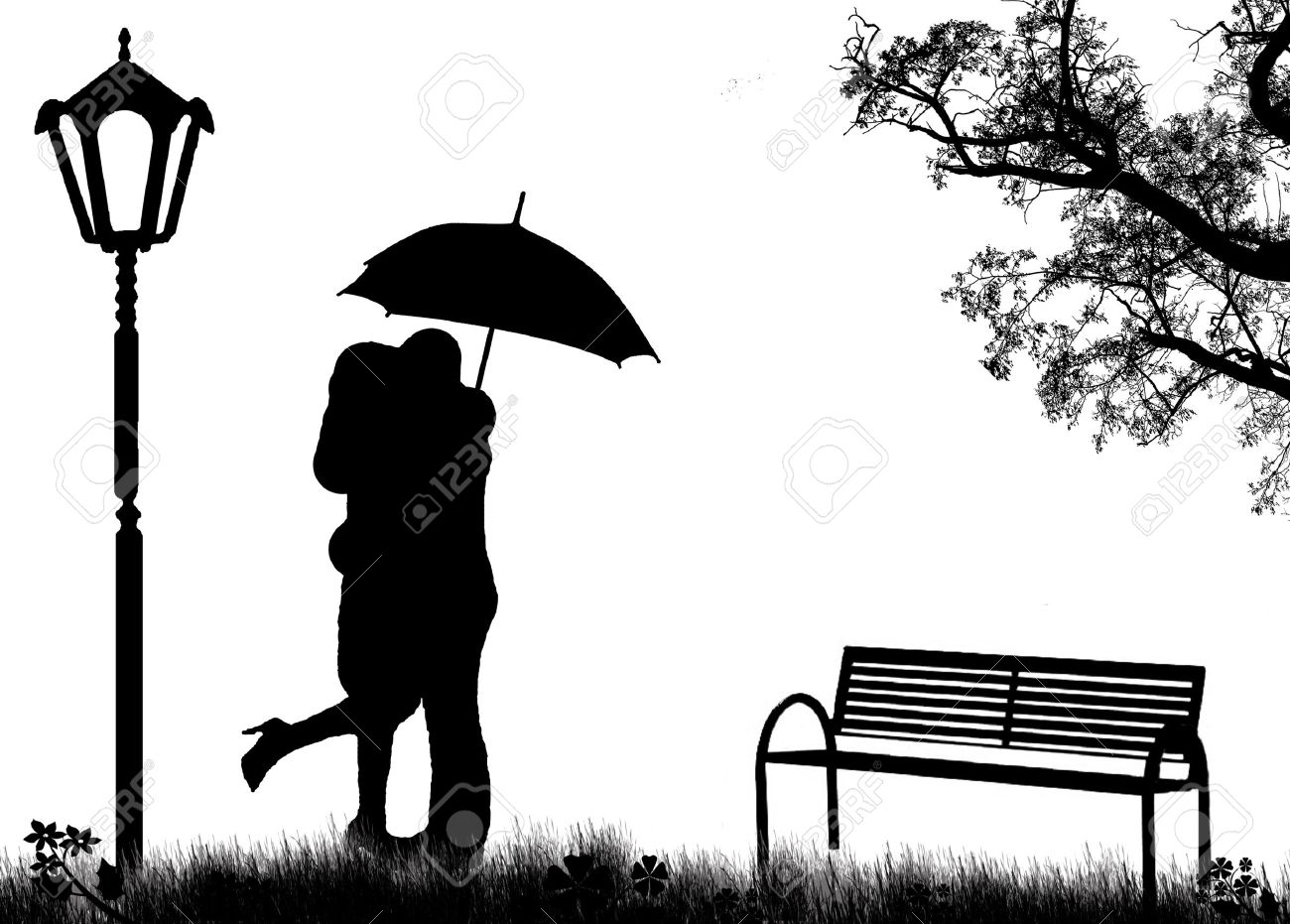 Embraced lovers in a park, on black and white illustration Stock Vector - 11536114