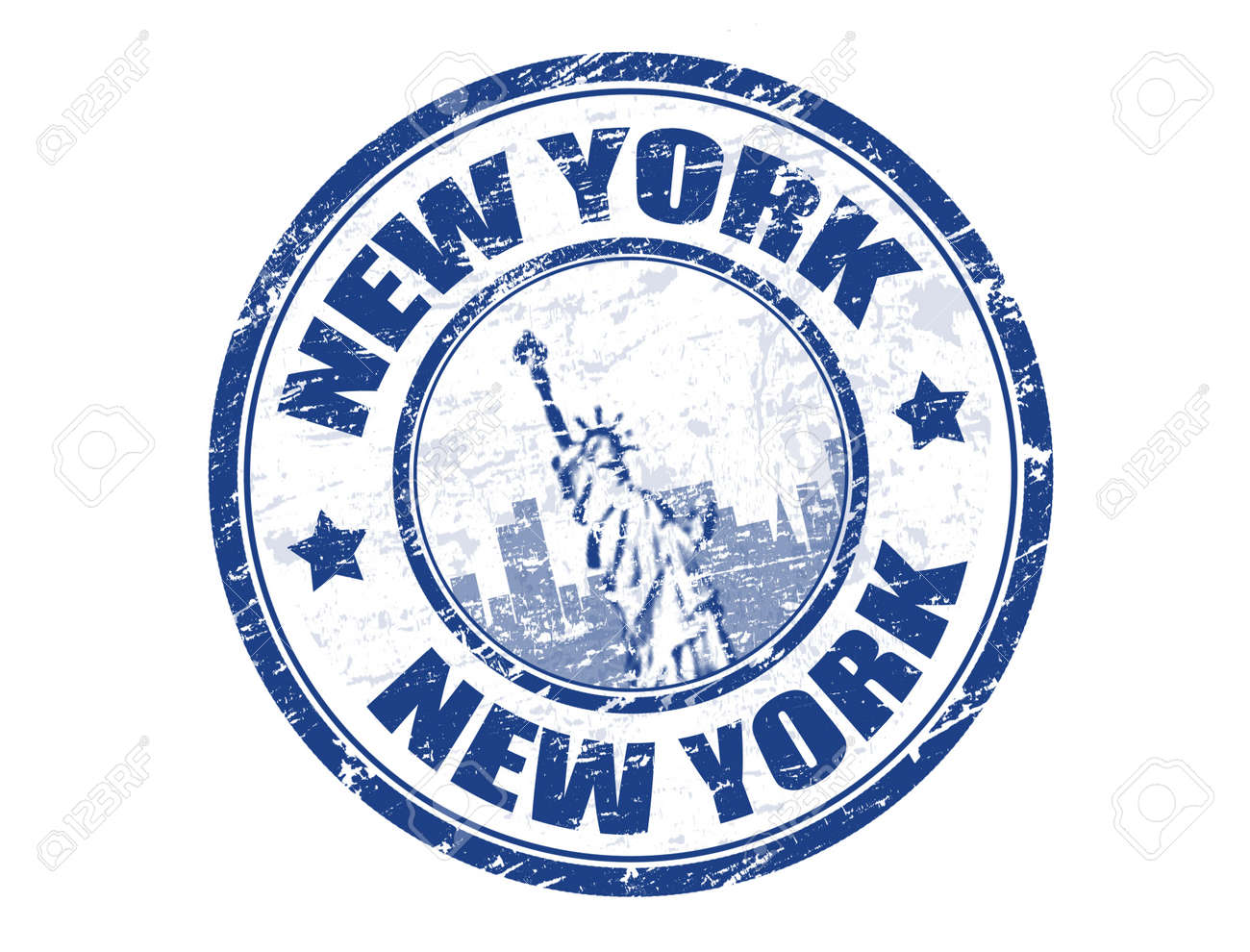 Grunge rubber stamp with Statue of Liberty and the word New York inside illustration Stock Vector - 11536112