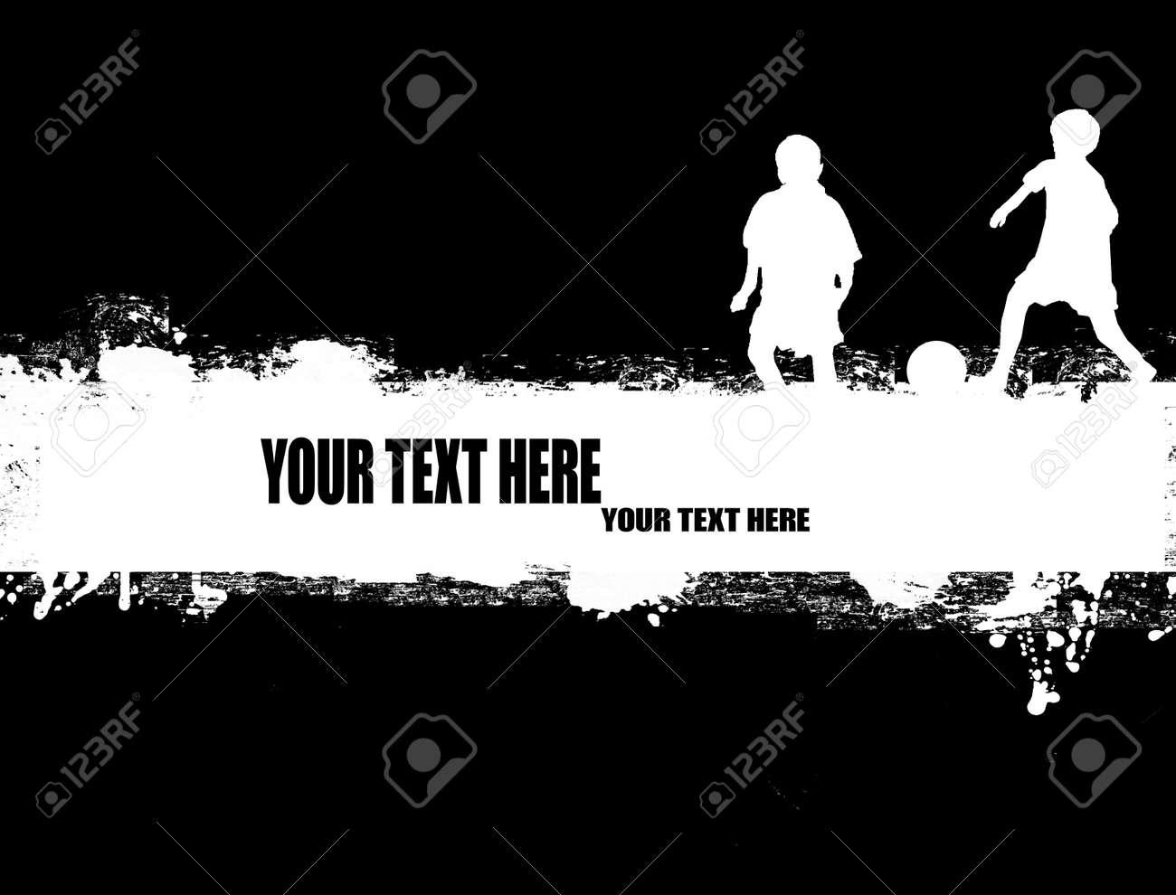 Grunge soccer poster on black and white illustration stock vector 11536171