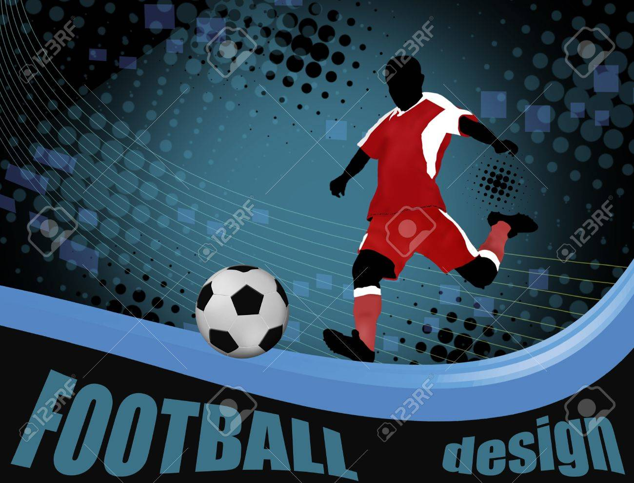 Football player with a soccer ball poster. Football design,  illustration Stock Vector - 11536179