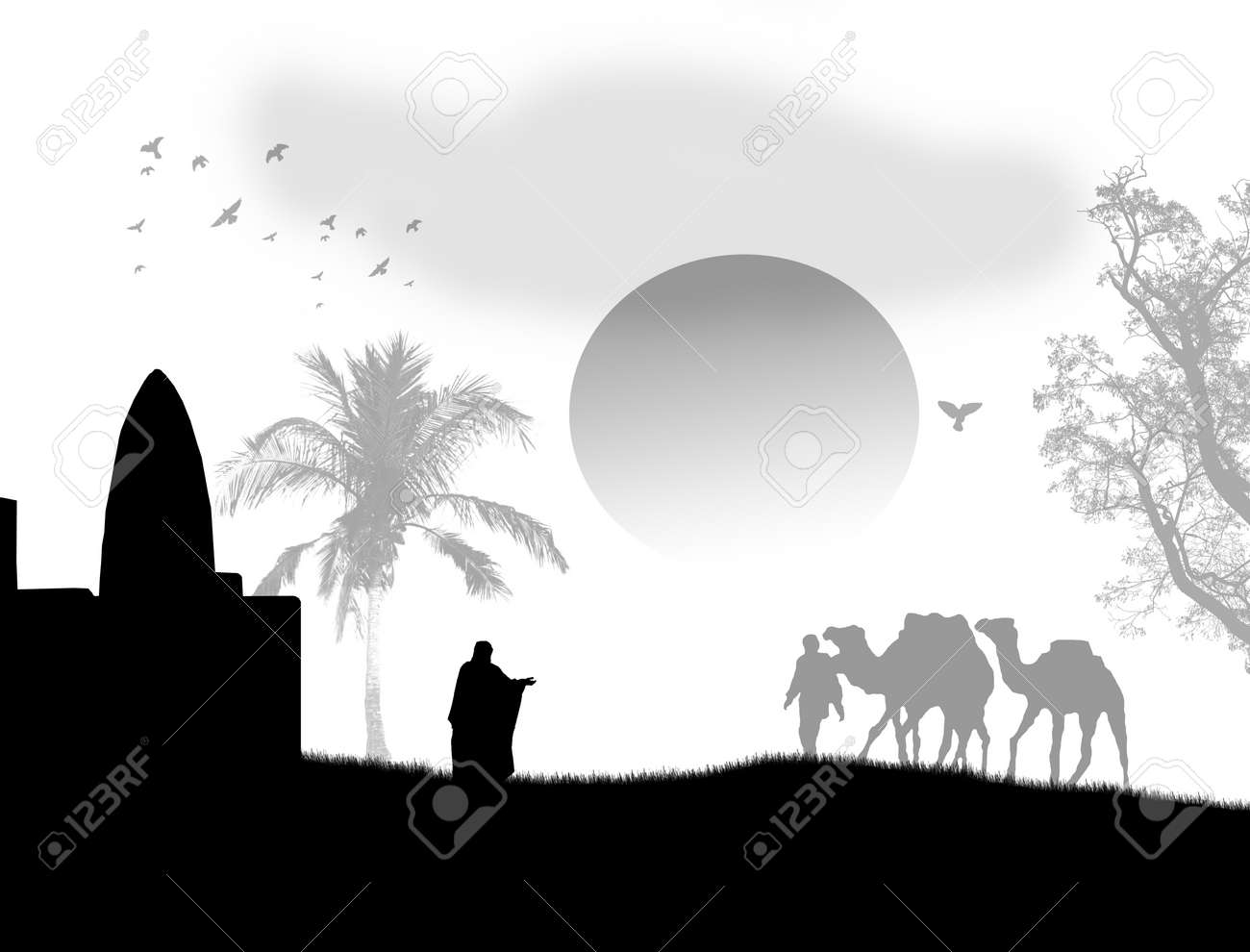 Vector illustration in Sahara with bedouins, mosque and camels, on black and white - 11813116