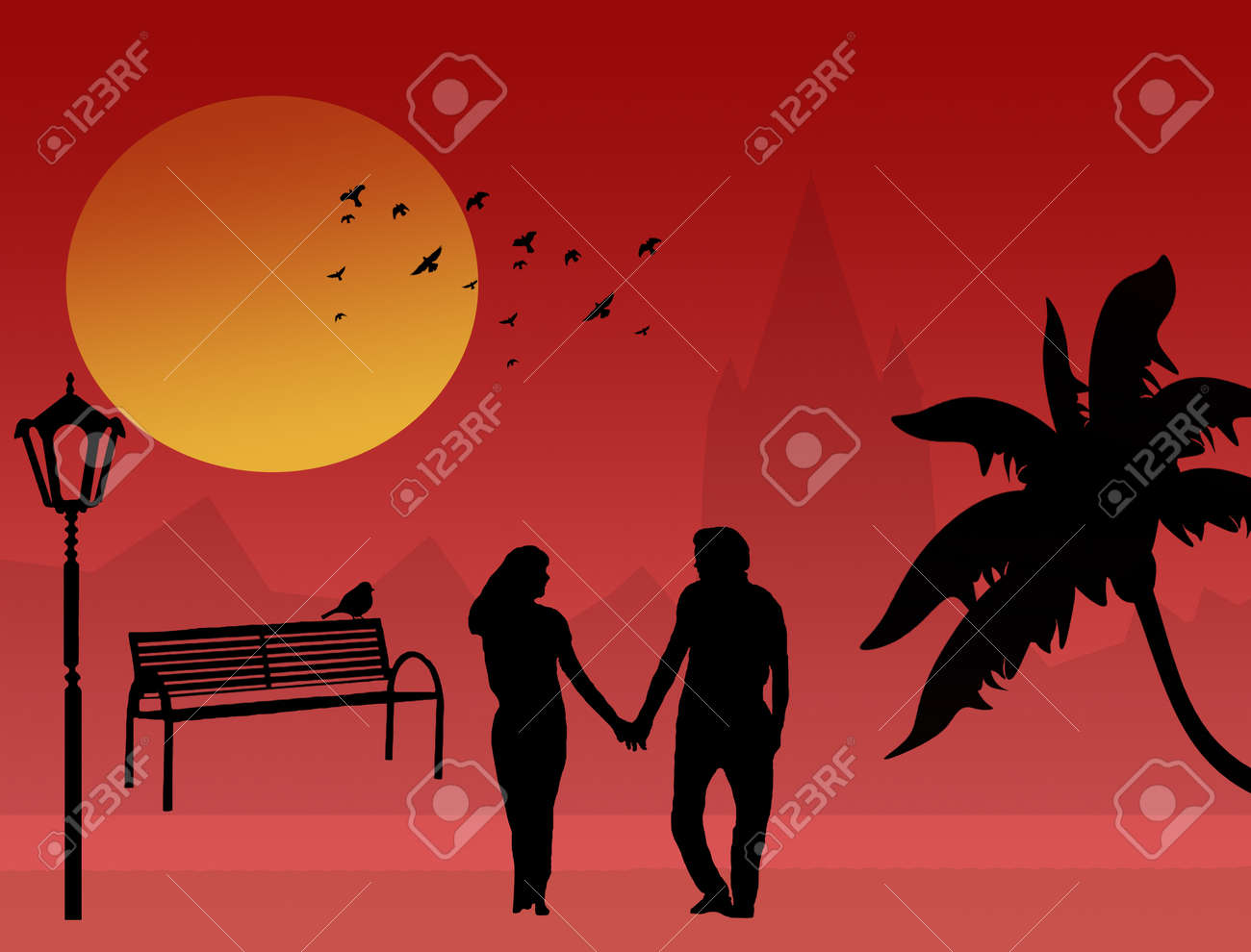 Couple in a city park at tropical sunset, vector illustration Stock Vector - 11881359