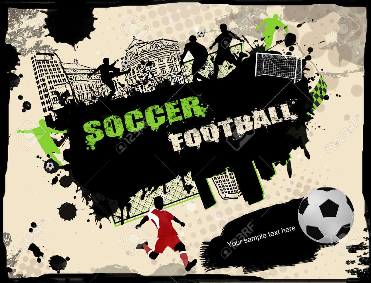 Urban grunge soccer background, vector illustration Stock Vector - 12223861