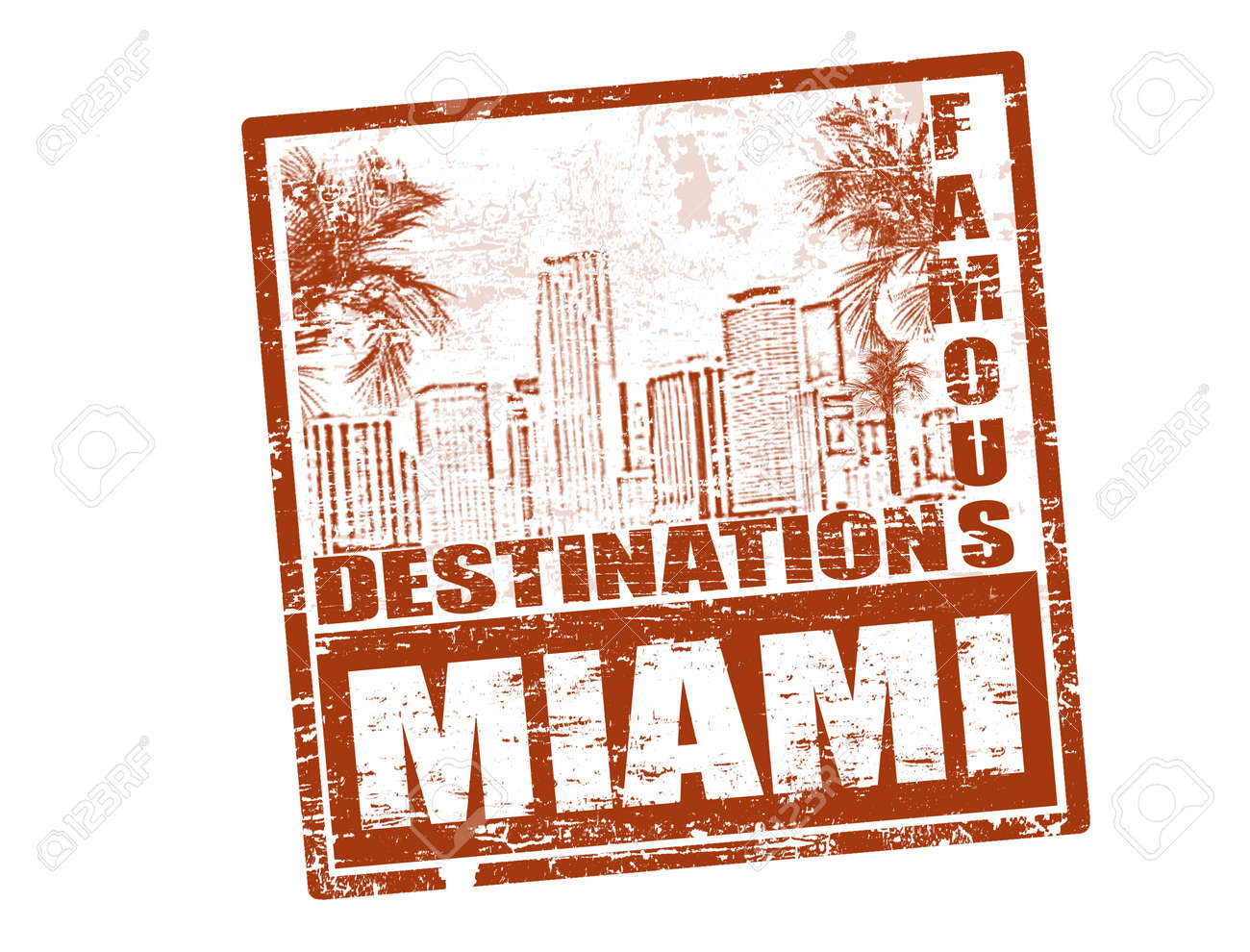 Grunge rubber stamp with the text famous destinations Miami inside, vector illustration Stock Vector - 12483075