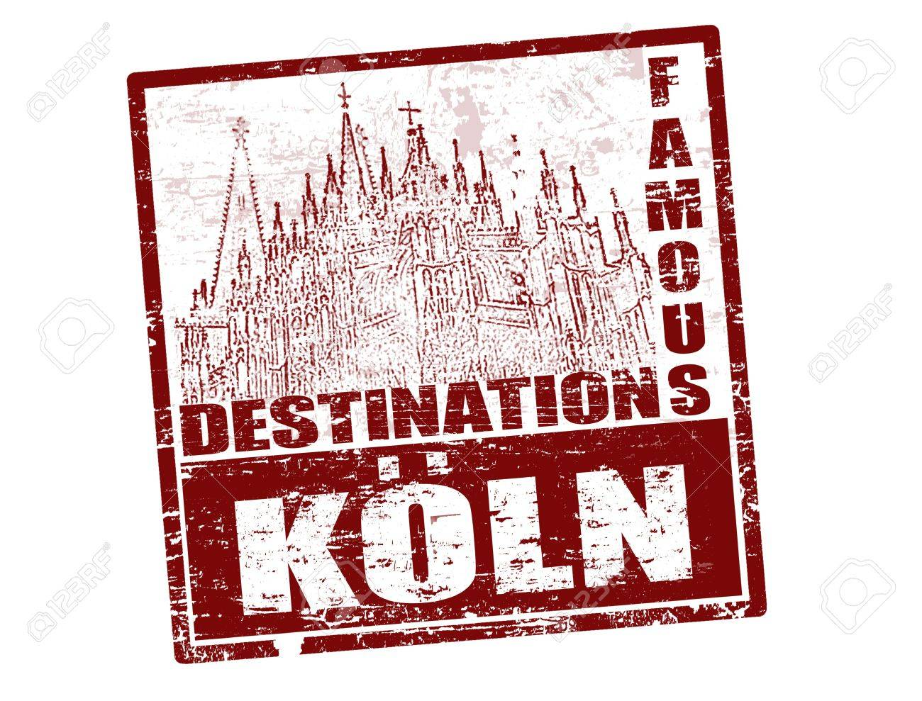 Grunge rubber stamp with the text famous destinations Koln inside, vector illustration Stock Vector - 12798845